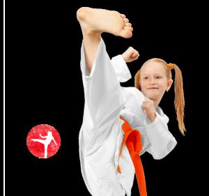 girl karate kicking